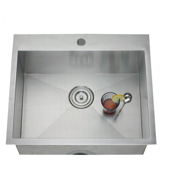 Top mount single bowl handmade sink 2420T